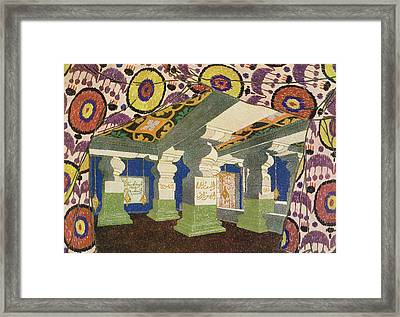 Oriental Scenery Design Framed Print by Leon Bakst