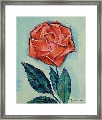 Origami Rose Framed Print by Michael Creese