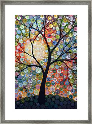 Original Abstract Tree Landscape Art Painting ... Waiting For The Moon Framed Print by Amy Giacomelli