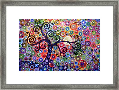Original Abstract Tree Landscape Painting ... The Coming Day Framed Print by Amy Giacomelli
