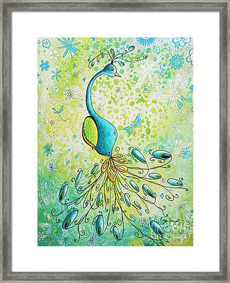 Original Acrylic Bird Floral Painting Peacock Glory By Megan Duncanson Framed Print by Megan Duncanson