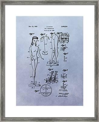 Original Barbie Doll Patent Framed Print by Dan Sproul