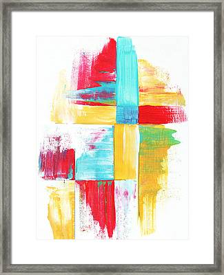 Original Bold Colorful Abstract Painting Patchwork By Madart Framed Print by Megan Duncanson