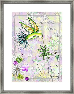 Original Inspirational Uplifting Hummingbird Floral Painting Art Quote Design By Megan Duncanson Framed Print by Megan Duncanson