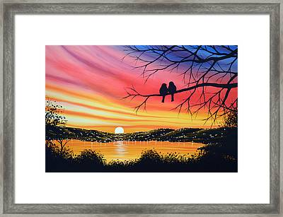 Original Landscape Art Birds Painting ... Alone Now Framed Print by Amy Giacomelli