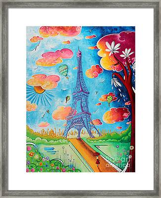 Original Paris Eiffel Tower Pop Art Style Painting Fun And Chic By Megan Duncanson Framed Print by Megan Duncanson
