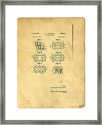 Original Patent For Lego Toy Building Brick Framed Print by Edward Fielding