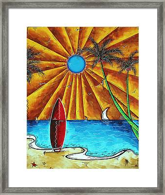 Original Tropical Surfing Whimsical Fun Painting Waiting For The Surf By Madart Framed Print by Megan Duncanson