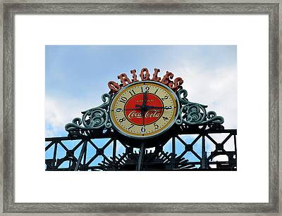 Orioles Clock - Camden Yards Framed Print by Bill Cannon