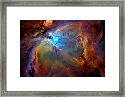 Orion Nebula Close Up 1-3-14 Enhanced Framed Print by L Brown