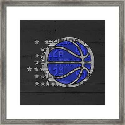 Orlando Magic Basketball Team Logo Vintage Recycled Florida License Plate Art Framed Print by Design Turnpike