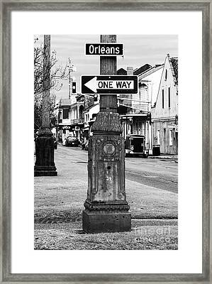 Orleans One Way Framed Print by John Rizzuto