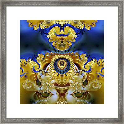 Ornamental Fountain - A Fractal Design Framed Print by Gina Lee Manley
