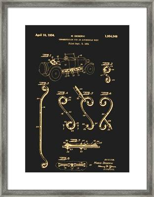 Ornamentation For An Automobile Body Patent 1934 Framed Print by Mountain Dreams
