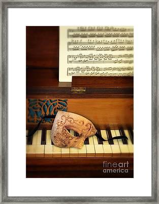 Ornate Mask On Piano Keys Framed Print by Jill Battaglia