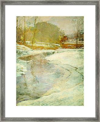 Orrin Sheldon Parsons 1866 1943 Stream In Winter  Bronx River Framed Print by MotionAge Designs