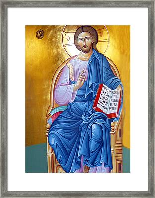 Orthodox Icon Of Jesus In Blue Framed Print by Munir Alawi