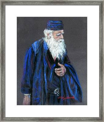 Orthodox Priest From Athens Greece Framed Print by Shirley Leswick