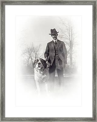 Orville Wright And Scipio - 1921 Framed Print by Daniel Hagerman