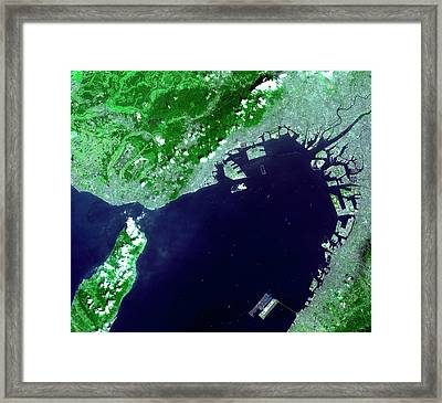 Osaka Bay Framed Print by Nasa/gsfc/meti/japan Space Systems And U.s./japan Aster Science Team