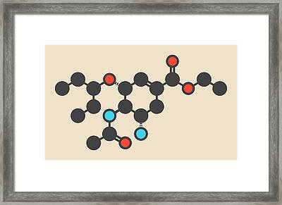 Oseltamivir Influenza Virus Drug Molecule Framed Print by Molekuul