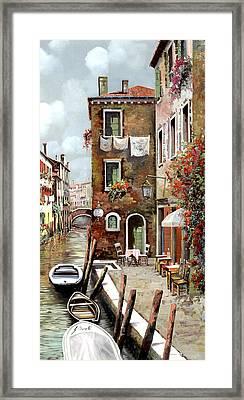 Osteria Sul Canale Framed Print by Guido Borelli