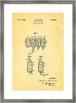 Ostermeier Photographic Flash Bulb Patent Art 1934 Framed Print by Ian Monk