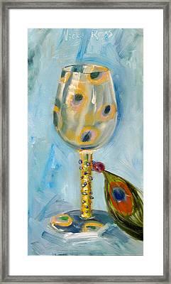 Ostrich Wine Glass Framed Print by Vicki Ross