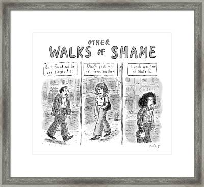 Other Walks Of Shame -- Just Found Framed Print by Roz Chast