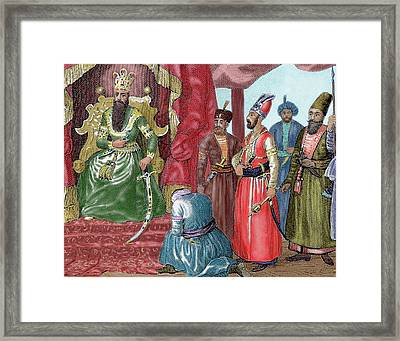 Ottoman Empire Sultan Welcoming Framed Print by Prisma Archivo