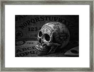 Ouija Boards And Skull Framed Print by Garry Gay