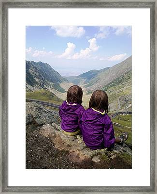 Our Daughters Admiring The View Framed Print by Giuseppe Epifani