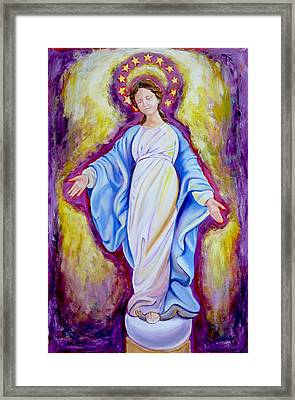 Our Lady Of The Smile Version One Framed Print by Sheila Diemert
