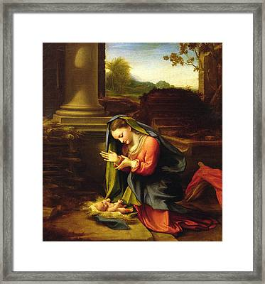 Our Lady Worshipping The Child Framed Print by Correggio