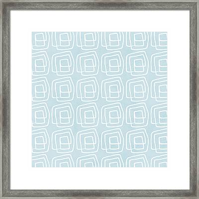 Out Of The Box Blue And White Pattern Framed Print by Linda Woods