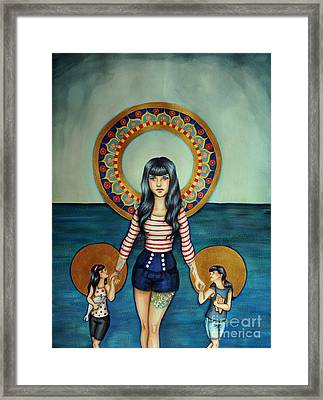 Out She Steps Framed Print by Lucy Stephens