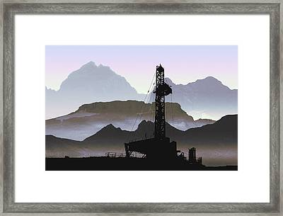 Out There Drilling Framed Print by Daniel Hagerman