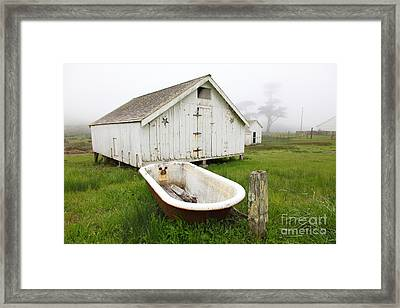 Outdoor Bath At The Old Pierce Point Ranch In Foggy Point Reyes California 5d28136 Framed Print by Wingsdomain Art and Photography