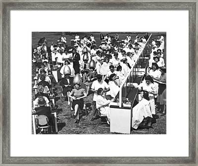 Outdoor Beauty Salon Test Framed Print by Underwood Archives