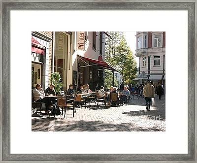 Outdoor Cafe Aachen Germany Framed Print by Anthony Morretta