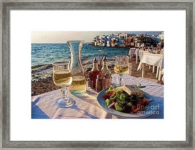 Outdoor Cafe In Little Venice In Mykonos Greece Framed Print by David Smith