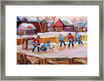 Outdoor Rink Hockey Game In The Village Hockey Art Canadian Landscape Scenes Carole Spandau Framed Print by Carole Spandau
