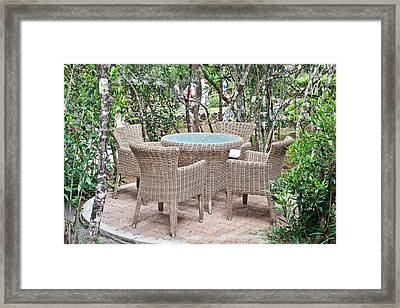Outdoor Seating Framed Print by Tom Gowanlock