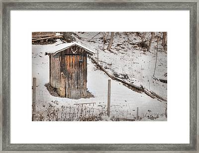 Outhouse For Bucks Framed Print by Lori Deiter