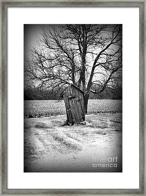 Outhouse In The Snow Framed Print by Paul Ward