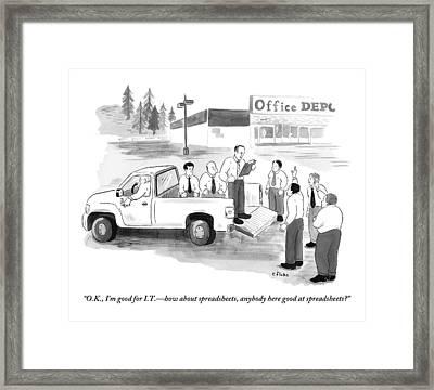 Outside An Office Depot Framed Print by Emily Flake