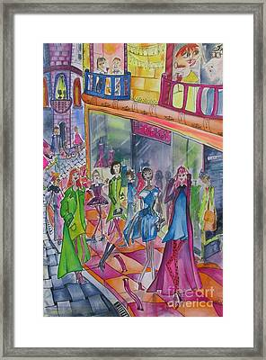 Outside The Frock Shop Framed Print by Cate Field