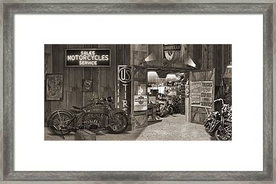 Outside The Old Motorcycle Shop - Spia Framed Print by Mike McGlothlen