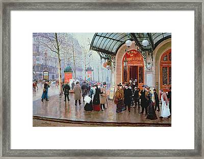 Outside The Vaudeville Theatre Framed Print by Jean Beraud