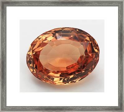 Oval Cut Imperial Topaz Gemstone Framed Print by Dorling Kindersley/uig